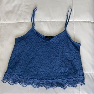Blue lace crop tank top